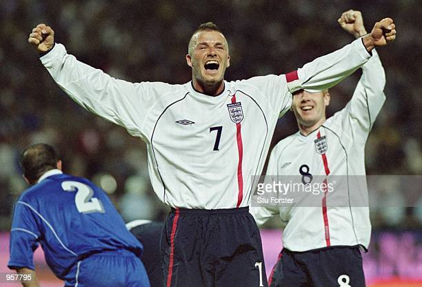 David Beckham of England celebrates scoring the second goal of the match from a brilliant freekick during the World Cup 2002 Group Nine Qualification...