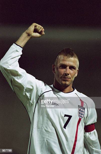 David Beckham of England celebrates victory after the World Cup 2002 Group Nine Qualification match against Greece played at the Olympic Stadium in...