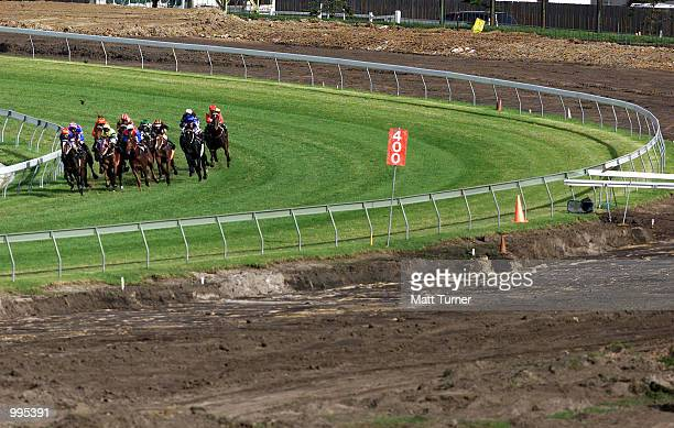 General view of the horse races for the Mick Young Scholarship Trust Race Day also showing track work taking place on the outside track held at Royal...
