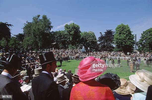 General view of the Parade Ring during the Royal Meeting held at Royal Ascot England Mandatory Credit Phil Cole /Allsport