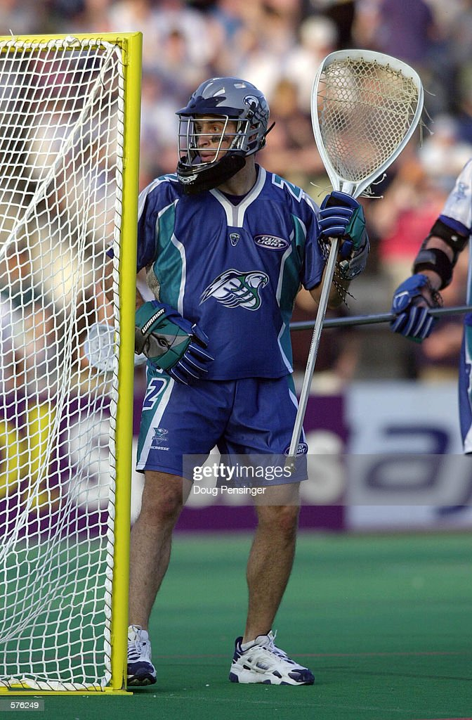 Goalie Greg Cattrano of the Baltimore Bayhawks looks on during a Major League Lacrosse game against the Long Island Lizards on Homewood Field at John...