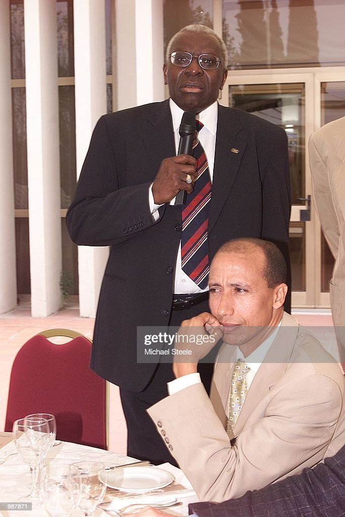 IAAF President Lamine Diack with guest Said Aouita during a press conference for the Golden League Launch in Rome DIGITAL IMAGE Mandatory Credit...