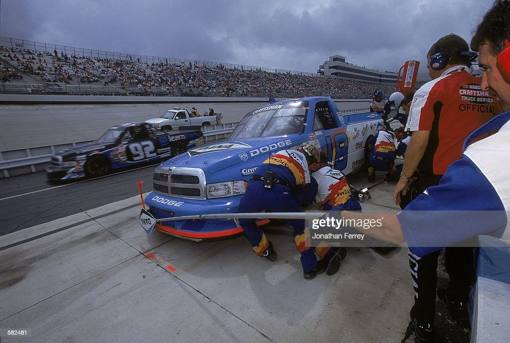 Joe Ruttman #18 makes a pit stop during the MBNA Platinum 400, Part of the NASCAR Craftsman Truck Series at the Dover Downs International Speedway in Dover, Delaware.Mandatory Credit: Jon Ferrey /Allsport