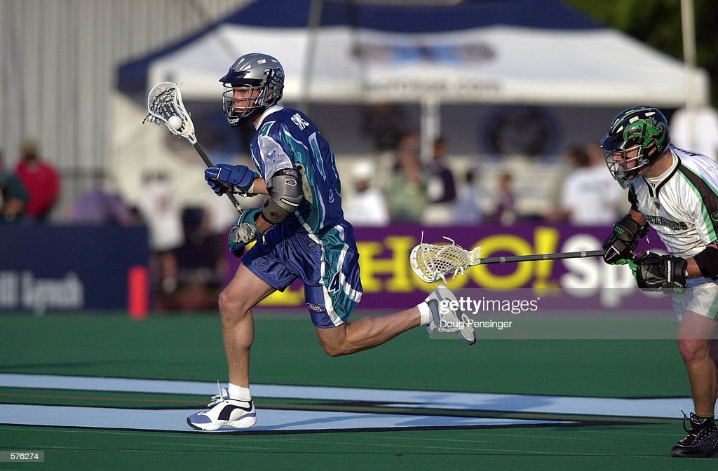Josh Sims of the Baltimore Bayhawks runs with the ball during a Major League Lacrosse game against the Long Island Lizards on Homewood Field at John...