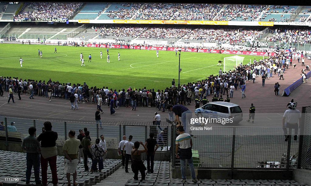 Juventus fans invade the pitch during the Serie A 34th Round League match between Juventus and Atalanta played at the Delle Alpi Stadium Turin Italy...
