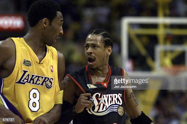 Kobe Bryant of the Los Angeles Lakers and Allen Iverson of the Philadelphia 76ers exchange words in game two of the NBA Finals at Staples Center in...
