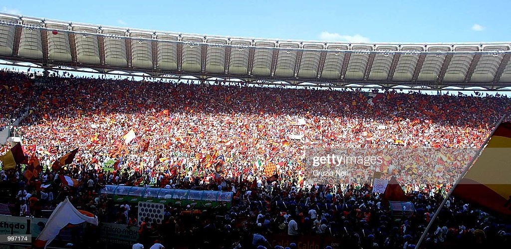 Roma fans invade the pitch minutes before the end of the Serie A 34th Round League match played between Roma and Parma played at the Olympic Stadium...