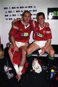 Scott Quinnell and Rob Howley of British Lions in happy mood after the Australia v British Lions match as part of the Lions Tour to Australia played...