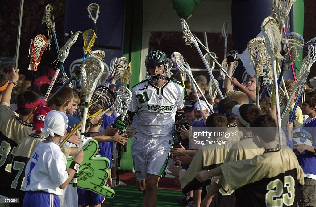 Tim Byrnes of the Long Island Lizards runs on the field before a Major League Lacrosse game against the Baltimore Bayhawks on Homewood Field at John...