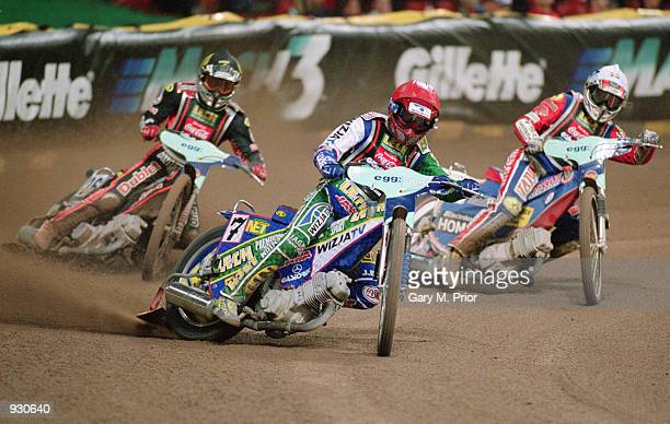 Tomasz Gollob of Poland rides in third place during the British Speedway Grand Prix at the Millennium Stadium in Cardiff Wales Mandatory credit Gary...