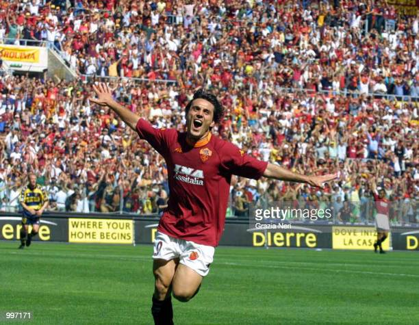 Vincenzo Montella of Roma celebrates after scoring during the Serie A 34th Round League match played between Roma and Parma played at the Olympic...