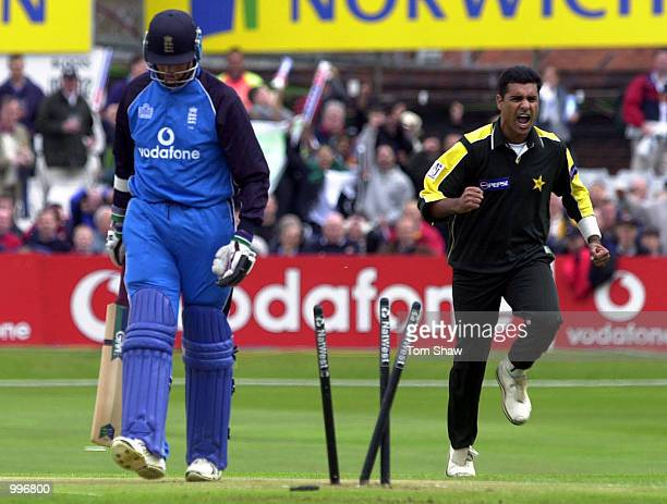 Waqar Younis of Pakistan celebrates taking the wicket of Marcus Trescothick of England first ball during the England v Pakistan NatWest One Day...