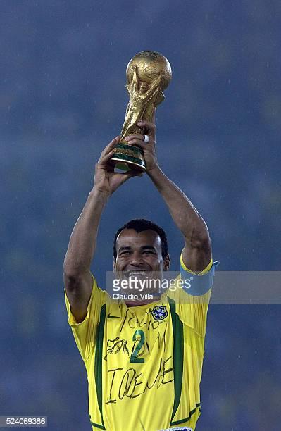 Cafu of Brazil celebrating after the Germany v Brazil World Cup Final match played at the International Stadium Yokohama Yokohama Japan