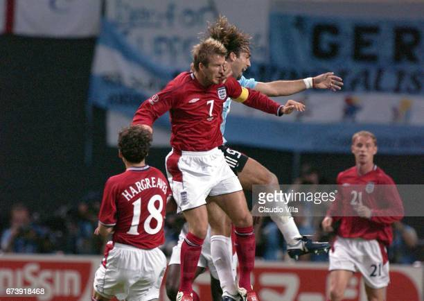 David Beckham of England and Gabriel Batistuta of Argentina during the first half of the England v Argentina Group F World Cup Group Stage match...