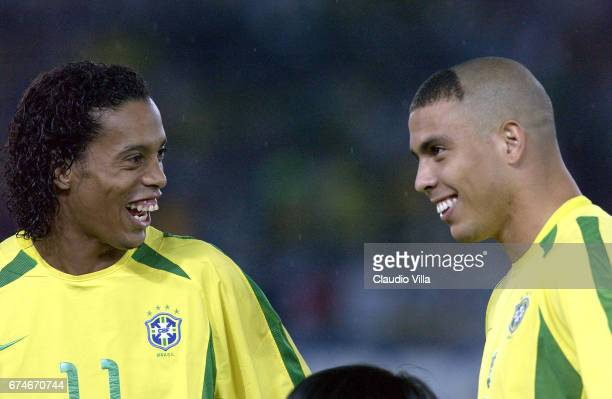 Ronaldinho and Ronaldo of Brazil chat during the Germany v Brazil World Cup Final match played at the International Stadium Yokohama Yokohama Japan