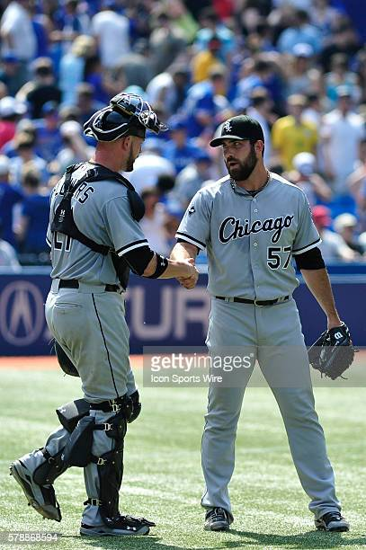 Chicago White Sox catcher Tyler Flowers celebrates with pitcher Zach Putnam The Chicago White Sox defeated the Toronto Blue Jays 4 3 at the Rogers...