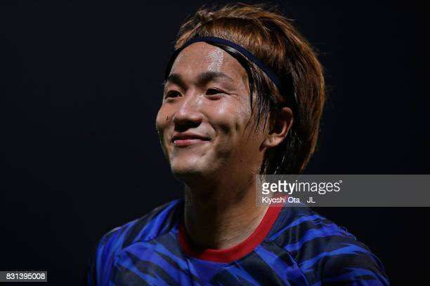 Jun Amano of Yokohama FMarinos in action during the JLeague J1 match between Yokohama FMarinos and Sagan Tosu at Nippatsu Mitsuzawa Stadium on August...