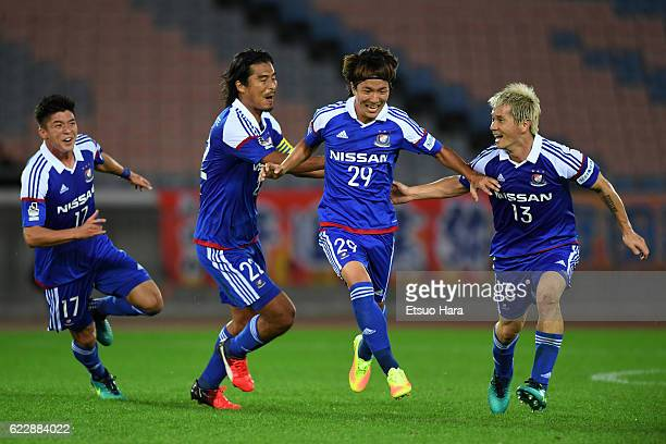 Jun Amano#29 of Yokohama FMarinos celebrates scoring his team's first goal during the 96th Emperor's Cup 4th Round match between Yokohama FMarinos...