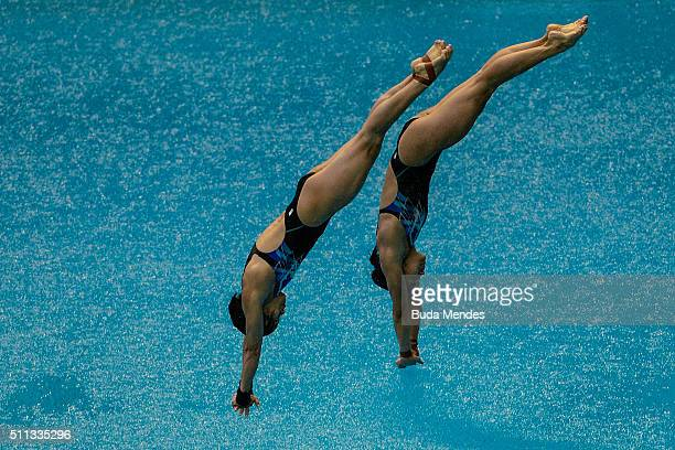 Jun Hoong and Pamg Pandelela Rinong of Malaysia compete in the women's 10m synchro springboard final as part of the 2016 FINA Diving World Cup at...
