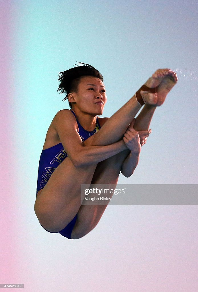 Jun Hoong Cheong of Malaysia competes in the Women's 3m Semifinal A during the FINA/NVC Diving World Series at the Windsor International Aquatic & Training Centre on May 23, 2015 in Windsor, Ontario, Canada.