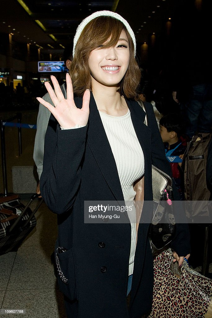 Jun Hyo-Seong of South Korean girl group Secret is seen at Incheon Inaternational Airport on January 16, 2013 in Incheon, South Korea.