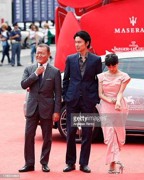 Jun Kunimura Hiroki Hasegawa and Fumi Nikaido attends Why Don't You Play In Hell Premiere during the 70th Venice International Film Festival on...