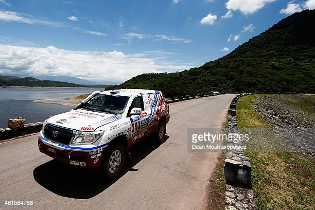 Jun Mitsuhashi of Japan and Alain Guehennec of France for Team Land Cruiser Toyota Auto Body VDJ200 compete during Stage 11 on day 12 of the Dakar...