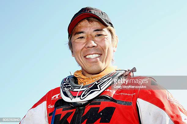 Jun Mitsuhashi of Japan riding on and for KTM 450 RALLY REPLICA KTM WARSAW RALLY TEAM is pictured at the end of stage thirteen between Villa Carlos...