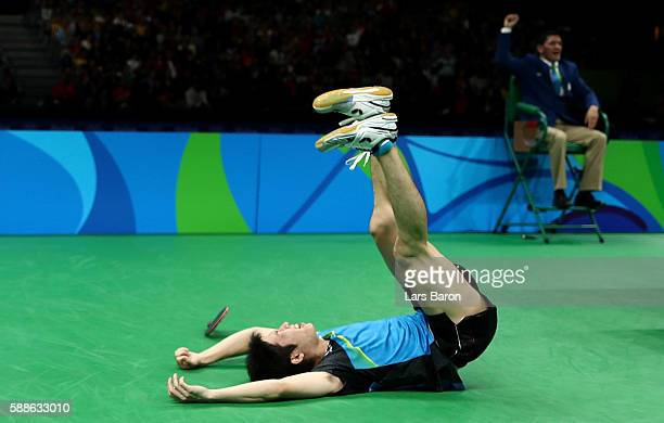 Jun Mizutani celebrates after winning the Mens Table Tennis Bronze Medal match against Vladimir Samsonov of Belarus at Rio Centro on August 11 2016...
