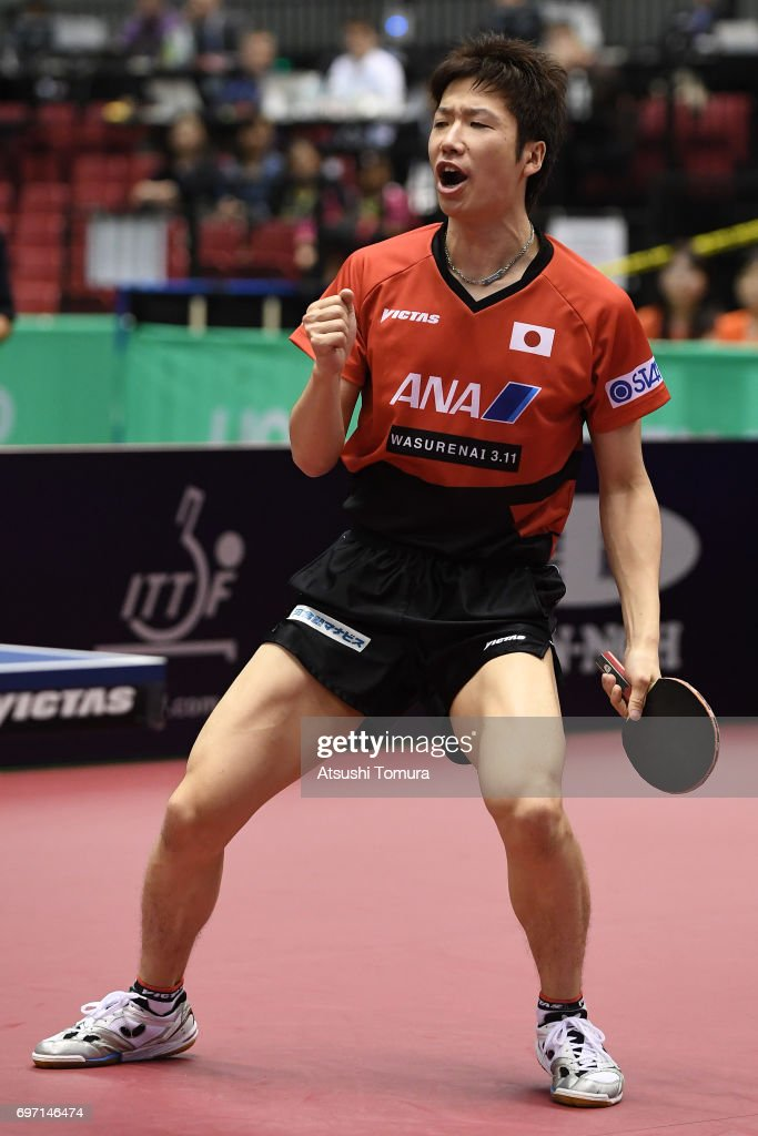 Jun Mizutani of Japan celebrates after a point during the men's singles semi final match against Zhendong Fan of China on the day 5 of the 2017 ITTF World Tour Platinum LION Japan Open at Tokyo Metropolitan Gymnasium on June 18, 2017 in Tokyo, Japan.