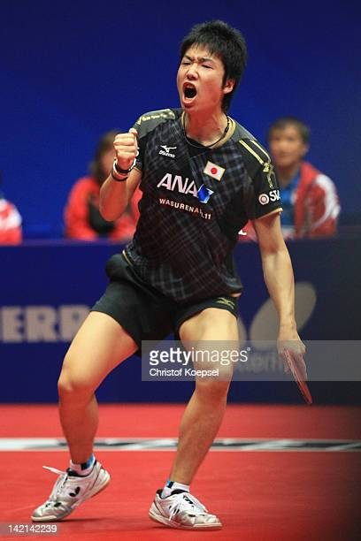 Jun Mizutani of Japan celebrates his victpory after his match against Gao Ning of Singapore during the LIEBHERR table tennis team world cup 2012...