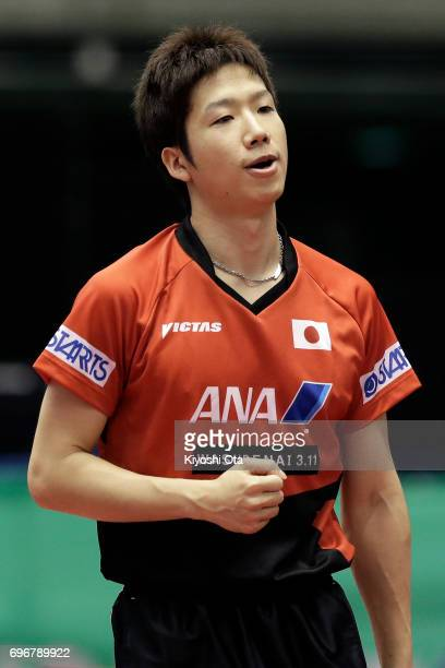 Jun Mizutani of Japan reacts in the Men's Singles second round match against Kristian Karlsson of Sweden during day four of the 2017 ITTF World Tour...