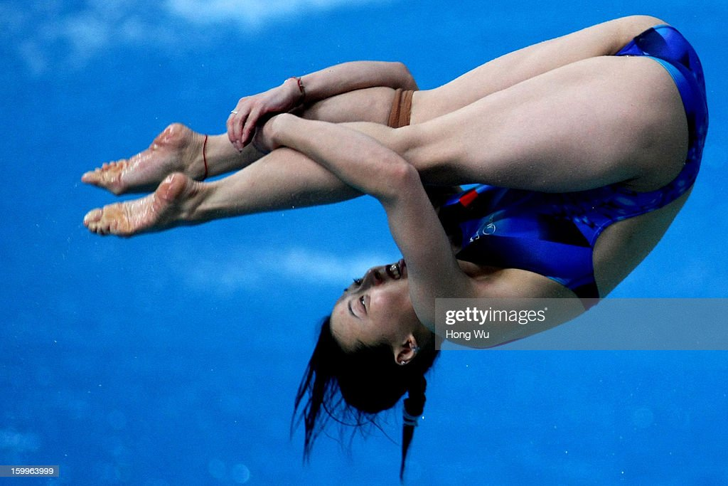 Jun Zhang of China competes in the Women's 3m Springboard Diving Final on Day 2 of the 2013 China Diving Champions Cup at Jinan Olympic Sports Center on January 24, 2013 in Jinan, China.