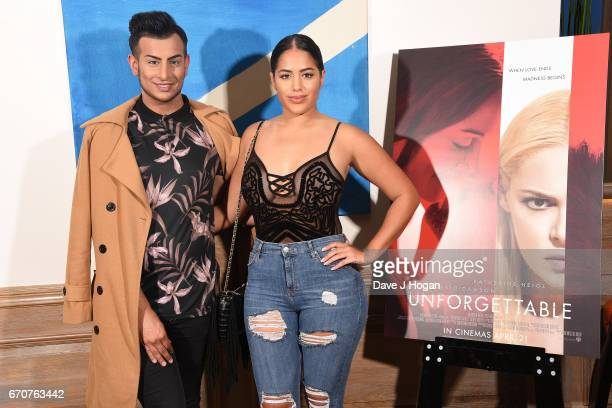 Junaid Ahmed and Malin Andersson attend the screening of 'Unforgettable' at Soho Hotel on April 20 2017 in London United Kingdom