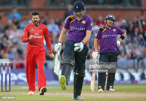 Junaid Khan of Lancashire Lightning celebrates taking the wicket of Alex Lees of Yorkshire Vikings centre at Old Trafford on June 6 2014 in...