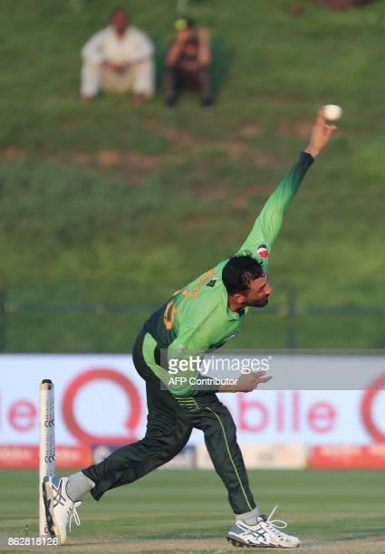 Junaid Khan of Pakistan bowls during the third one day international match between Pakistan and Sri Lanka in Abu Dhabi at Zayed Cricket Stadium on...