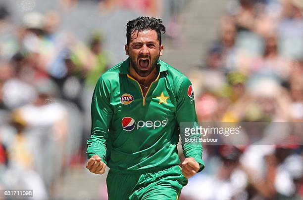 Junaid Khan of Pakistan celebrates after dismissing David Warner of Australia during game two of the One Day International series between Australia...