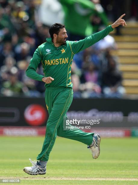 Junaid Khan of Pakistan celebrates after dismissing Dhananjaya de Silva of Sri Lanka during the ICC Champions Trophy match between Sri Lanka and...