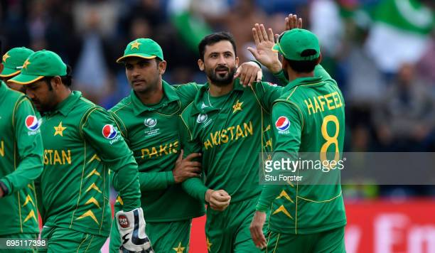 Junaid Khan of Pakistan celebrates after dismissing Dhanushka Gunathilleke of Sri Lanka hits out during the ICC Champions League match between Sri...