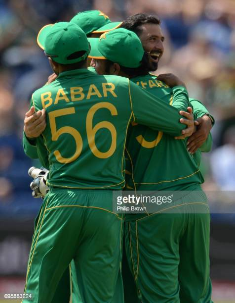 Junaid Khan of Pakistan celebrates after dismissing Jos Buttler of England during the ICC Champions Trophy match between England and Pakistan at...