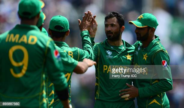 Junaid Khan of Pakistan celebrates after dismissing Moeen Ali of England during the ICC Champions Trophy Semi Final match between England and...