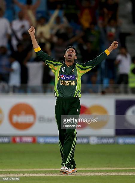 Junaid Khan of Pakistan celebrates after dismissing Thisara Perera of Sri Lanka during the second OneDay International match between Sri Lanka and...