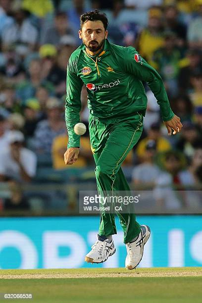 Junaid Khan of Pakistan fields off his own bowl during game three of the One Day International series between Australia and Pakistan at WACA on...