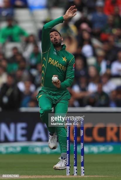 Junaid Khan of Pakistan in action during the ICC Champions Trophy match between Pakistan and South Africa at Edgbaston on June 7 2017 in Birmingham...