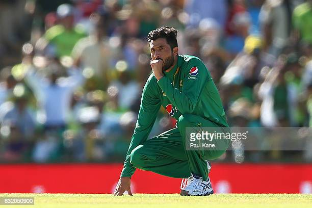 Junaid Khan of Pakistan looks on after Mohammad Nawaz of Pakistan after dropped a catch from Peter Handscomb of Australia during game three of the...