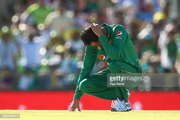 Junaid Khan of Pakistan reacts after Mohammad Nawaz dropped a catch from Peter Handscomb of Australia during game three of the One Day International...