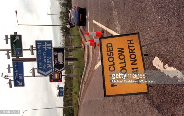 Junction 5 of the M1 near Watford is closed off in the rush hour this morning following a series of bomb alerts across the southeast Photo by Michael...