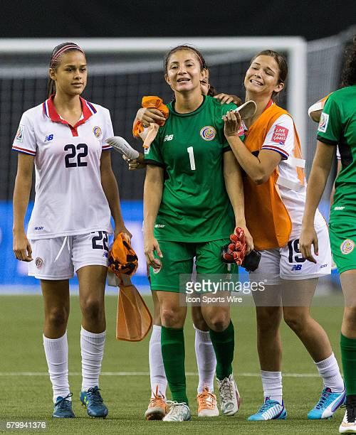 Costa Rica defender Fabiola Sanchez congratulates teammate goalkeeper Dinnia Diaz during the 2015 FIFA Women's World Cup Group E match between Spain...