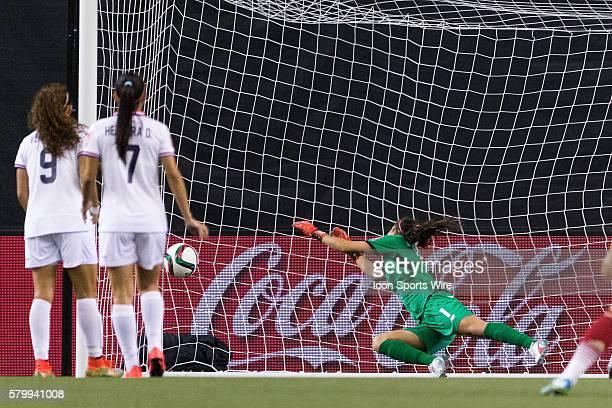 Spain forward Vicky Losada scores a goal against Costa Rica goalkeeper Dinnia Diaz during the 2015 FIFA Women's World Cup Group E match between Spain...