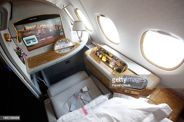 June 1 2009 A first class seat is seen aboard the Emirates Airbus A380 which arrived at Pearson International airport in Mississauga Ontario from...